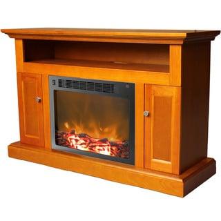 Cambridge Sorrento Teak Fireplace Mantel with Electronic Fireplace Insert