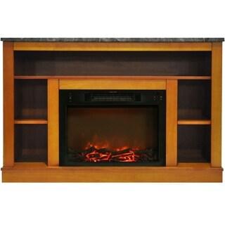Cambridge CAM5021-1TEK Seville Teak Fireplace Mantel With Electronic Fireplace Insert