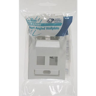 Leviton 002-40807-0BW Single Gang White QuickPort 4-Port Angled Wallplate