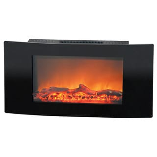 Cambridge CAM35WMEF-2BLK Callisto 35-inch Wall-mount Electronic Fireplace With Curved Panel and Realistic Logs