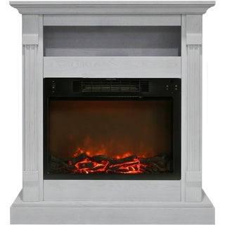 Cambridge CAM3437-1WHT Sienna White Fireplace Mantel With Electronic Fireplace Insert
