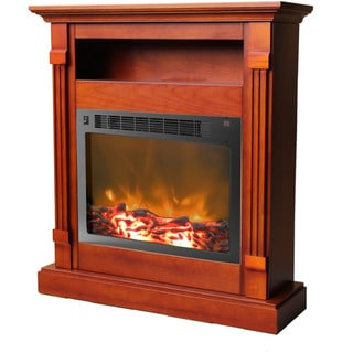 Cambridge CAM3437-1CHR Sienna Cherry Fireplace Mantel With Electronic Fireplace Insert