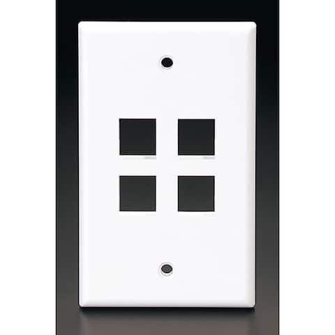 Leviton C42-41080-4WP Single Gang White QuickPort 4-Port Wallplate