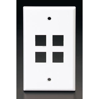 Leviton C42-41080-4WP Single Gang White QuickPort 4-Port Wallplate