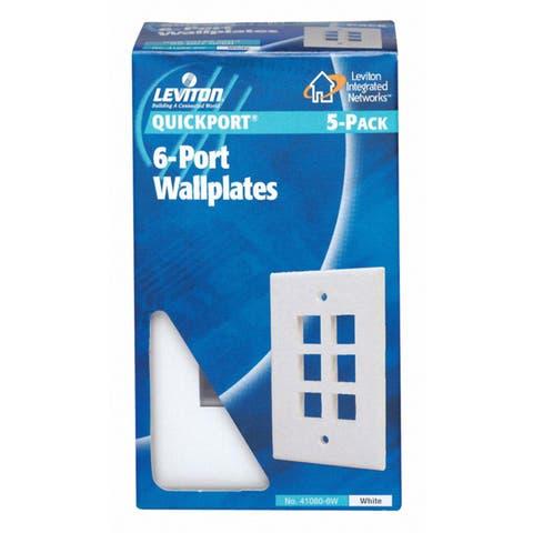 Leviton C62-41080-6WP Single Gang White QuickPort 6-Port Wallplate