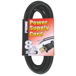 Prime PS005608 8' 16/2 SJT Black Replacement Power Supply Cord