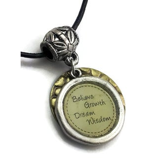 "Mama Designs Inspirational ""Believe, Growth, Dream, Wisdom"" Charm Necklace"