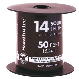 Southwire 11579041 50' 14 Gauge Solid Black Thhn Wire
