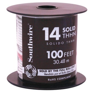 Southwire 11580842 100' 14 Gauge White THHN Solid Wire
