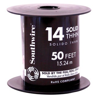 Southwire 11581641 50' 14 Gauge Solid Red Thhn Wire