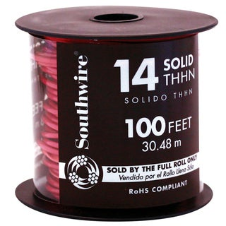 Southwire 11581642 100' 14 Gauge Red THHN Solid Wire