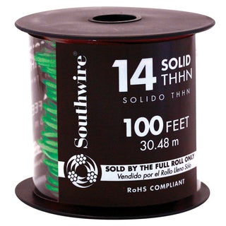 Southwire 11583242 100' 14 Gauge Green THHN Solid Wire