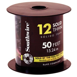 Southwire 11587337 50' 12 Gauge Solid Black Thhn Wire