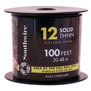 Southwire 11587338 100' 12 Gauge Black THHN Solid Wire
