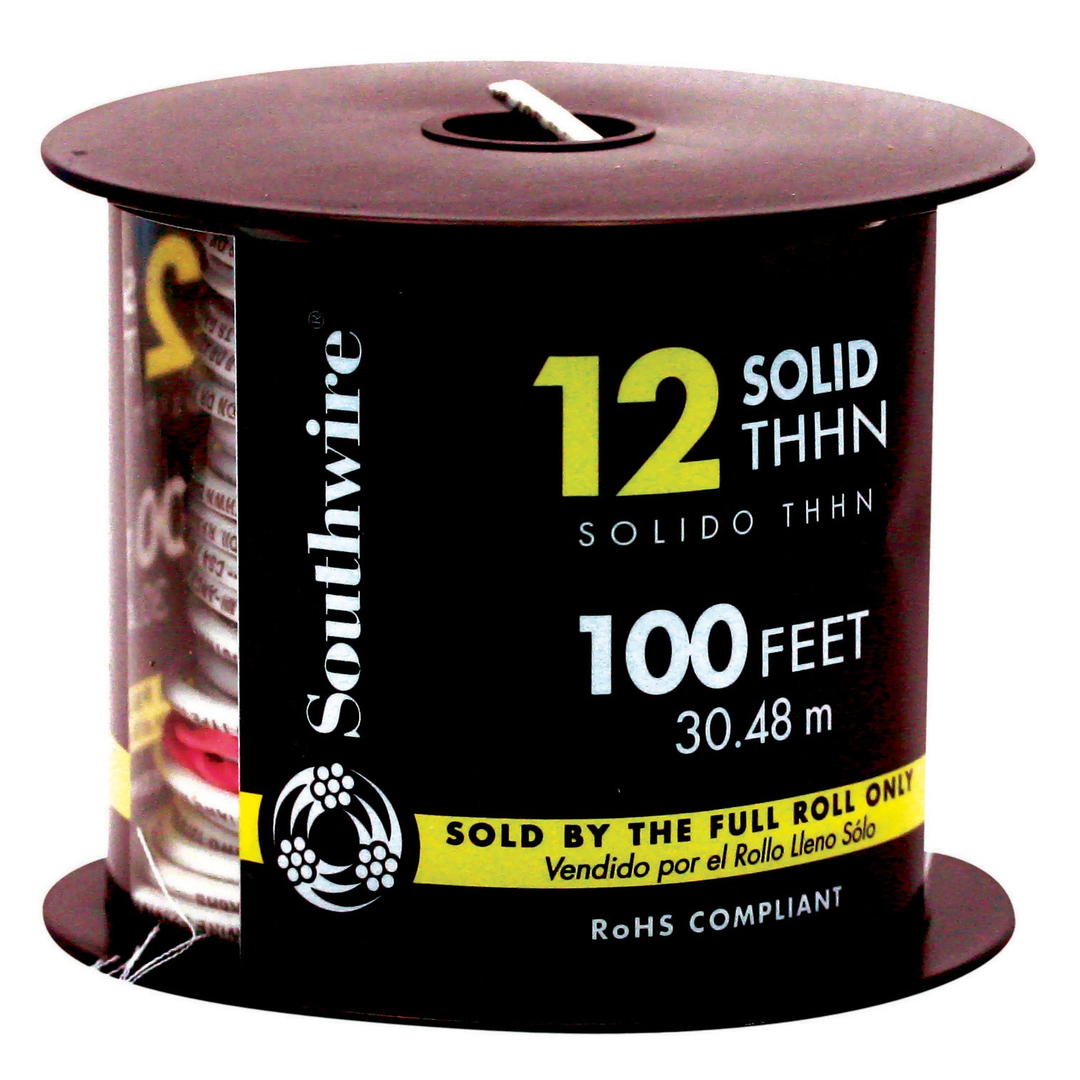 Southwire 11588138 100' 12 Gauge White Thhn Solid Wire (C...