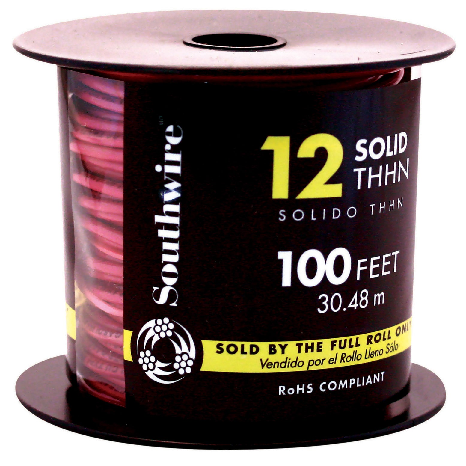 Southwire 11589938 100' 12 Gauge Red Thhn Solid Wire (Cab...