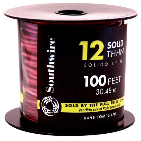 Southwire 11589938 100' 12 Gauge Red THHN Solid Wire