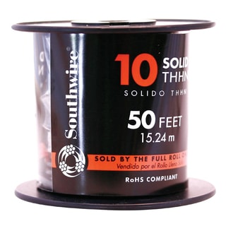 Southwire 11595617 50' 10 Gauge Solid Black Thhn Wire