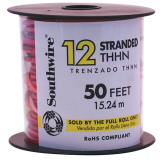 Southwire 22966651 50' 12 Gauge Red Multi Strand Thhn Wire