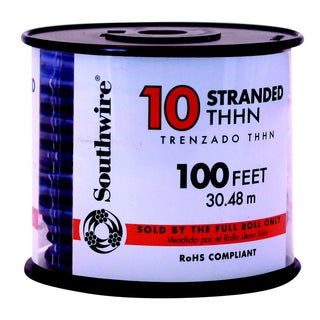 Southwire 22973237 100' 10 Gauge Black Stranded THHN Wire