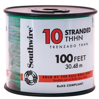 Southwire 22977337 100' 10 Gauge Green Stranded THHN Wire