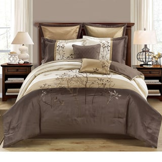 Country Side 8-piece Comforter Set with Embroidered Nature Pattern