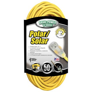 Coleman Cable 01288 50' 16/3 Polar Solar Outdoor Extension Cord W/Lighted End
