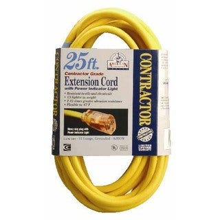 Coleman Cable 01697 25' 12/3 Yellow Single Tap Outdoor Extension Cord