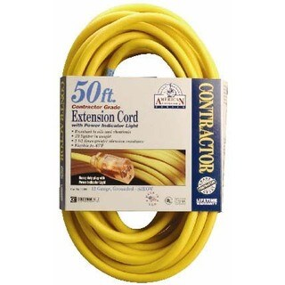 Coleman Cable 01698 50' 12/3 Yellow Single Tap Outdoor Extension Cord