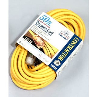 Coleman Cable 01798 50' 10/3 Yellow American Contractor Outdoor Extension Cord