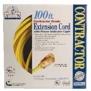 Coleman Cable 01699 100' 12/3 Yellow Single Tap Outdoor Extension Cord
