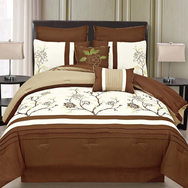 Shop Imperial 8 piece Brown and Off White Comforter Set   Free