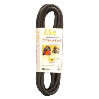 Coleman Cable 02306 15' 16/3 Black Vinyl Outdoor Extension Cord