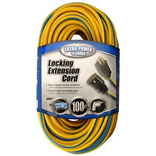 Coleman Cable 02439-88-26 100' Yellow & Blue Locking Extension Cord