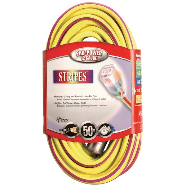 Coleman Cable 02548-22 50' Yellow & Purple 12/3 Outdoor Extension Cord