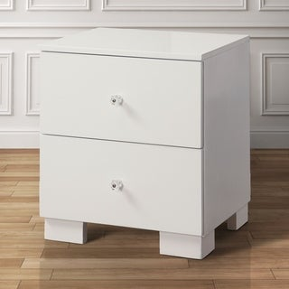Furniture of America Taur Modern White Solid Wood 2-drawer Nightstand