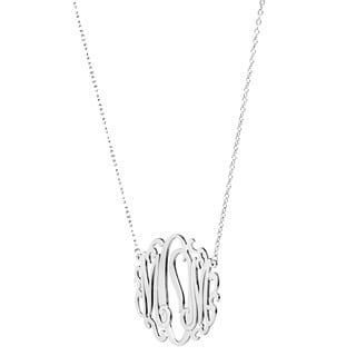 Sterling Silver or 14k Gold over Silver Mom Monogram Necklace