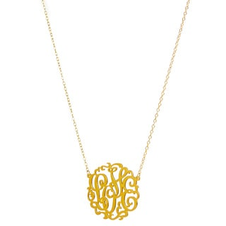 14k Gold Over Sterling Silver Love Monogram Necklace