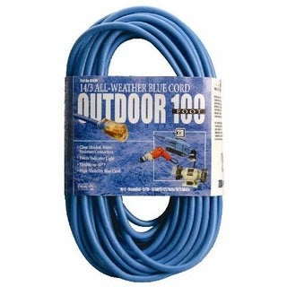 Coleman Cable 02469-06 100' 14/3 Blue Hi-Visibility/Low Temp Outdoor Extension Cord