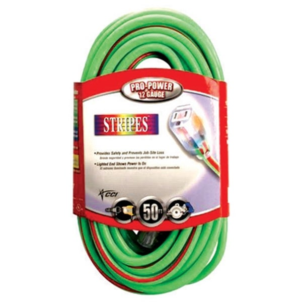 Coleman Cable 02548-54 50-foot 12/3 Stripes Outdoor Extension Cord