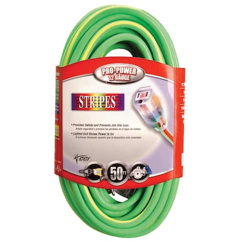 Coleman Cable 02549-52 100' Green & Yellow 12/3 Outdoor Extension Cord