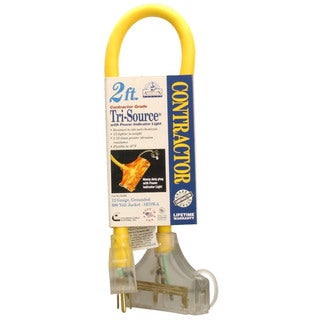 Coleman Cable 03492 2' 12/3 Yellow American Contractor Tri-Source Ext Cord