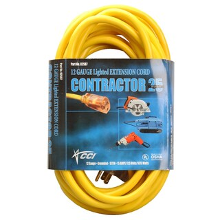 Coleman Cable 02587 25' Yellow Extension Cord