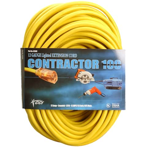 Coleman Cable 02589 100' 12/3 Yellow Extension Cord