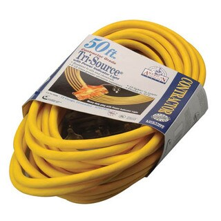 Coleman Cable 03498 50' 12/3 Yellow American Contractor Tri-Source Ext Cord