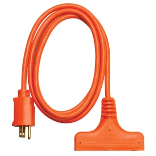 Coleman Cable 04004 6' 14/3 Orange 3-Way Power Block Multi-Outlet Extension Cord