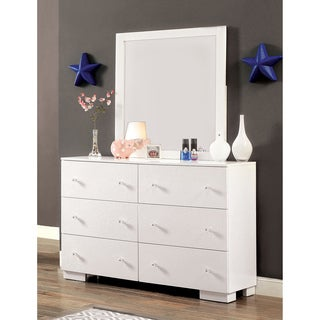 Furniture of America Isobelle Modern White 2-piece Dresser and Mirror Set