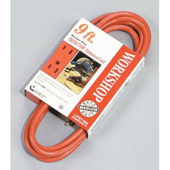 Coleman Cable 04006 9' 16/3 Orange Trinector Three-Way Power Extension Cord