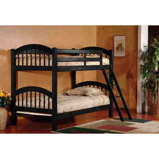 K&B Black Wood Arched Twin/Twin Bunk Bed