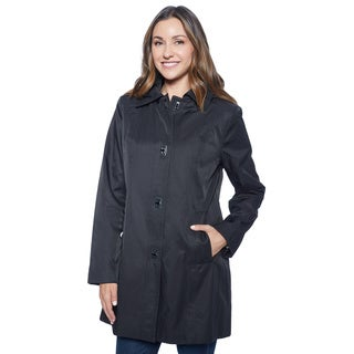 Anne Klein Women's 3721903T Black Cotton and Polyester Rain Coat
